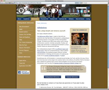 college admissions website