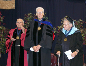 Franciscan University's First Chancellor Rev. Michael Scanlan, T.O.R., Thomas Aquinas College founder Dr. Ronald McArthur, and Christendom College founder Dr. Warren Carroll were awarded Christendom's Pro Deo et Patria Medal for Distinguished Service to Church and Nation in 2007