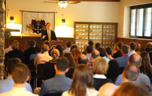 President O'Donnell addresses students and families at an Open House.