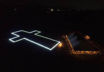The outline of the new Christ the King Chapel was illuminated at the campaign launch on September 9.