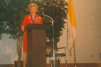 Phyllis Schlafly, visiting Christendom in 1996.